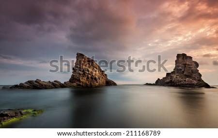 "Rock formation ""The ships"" near Sinemoretz, Bulgaria - stock photo"