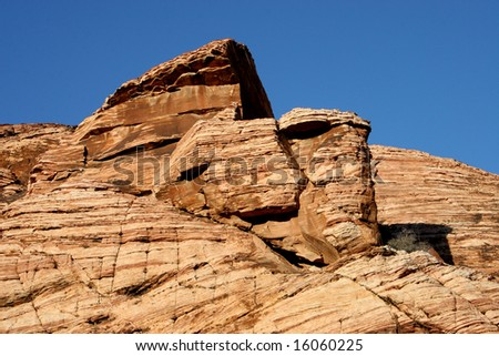Rock formation with blue sky at Red Rock Canyon in Nevada - stock photo