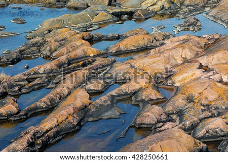 Rock formations at the Baltic shore, Grisslehamn - stock photo