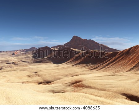 rock formations in a sand desert