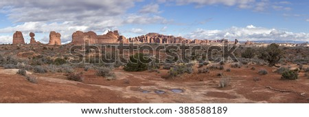 Rock Formations in Arches National Park - stock photo