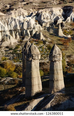 Rock formations in Capapdocia, Turkey