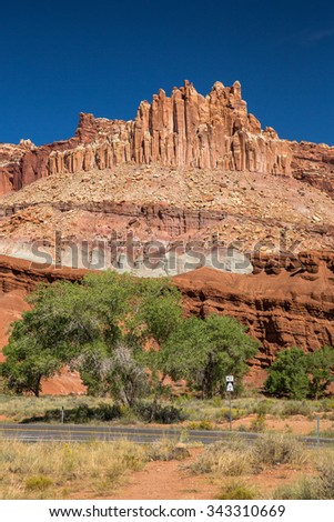 Rock formations in Capitol Reef National Park, USA.