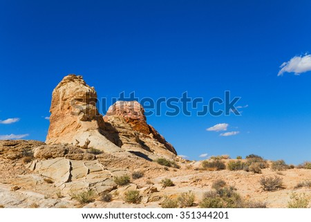 Rock Formations in desert at Valley of Fire State Park, Nevada, USA - stock photo