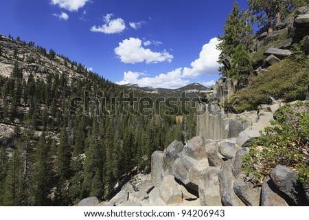 Rock formations in Devil's Postpile National Monument in Sierra Nevada mountains, California - stock photo