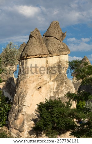 Rock formations in Goreme National Park. Cappadocia,  Turkey - stock photo