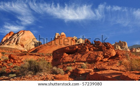 Rock formations in Valley of Fire State Park, Nevada. - stock photo