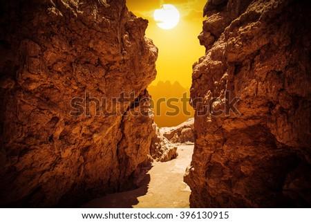 Rock formations of the Atacama desert, Chile - stock photo