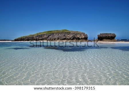 Rock formations on Watamu beach near Malindi, Kenya - stock photo