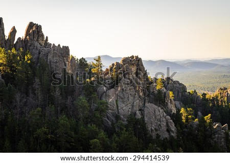 Rock Formations Overlook at Black Hills - stock photo