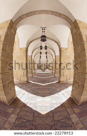 Rock gallery in the old city of Jerusalem - stock photo