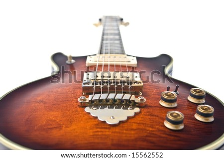 Rock guitar, perspective shot on white - stock photo