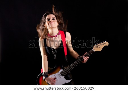 rock guitar player - stock photo