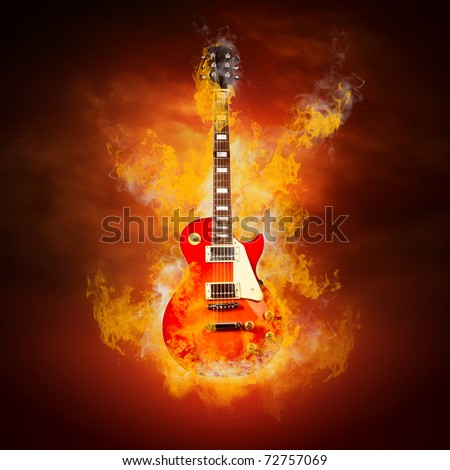 Rock guitara in flames of fire - stock photo