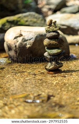 Rock in Brook Nature,believe in the healing waters - stock photo