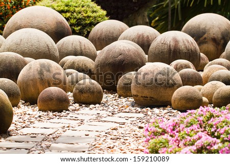 rock in garden - stock photo