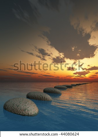 rock in night sea. The abstract bridge in the open ocean from a pebble. Fantastic sunset