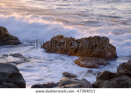 Rock in the sea, Port Edward, South Africa - stock photo
