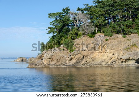 rock island in Vancouver Island in Canada - stock photo