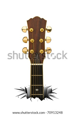 Rock music. Acoustic guitar. Musical instrument that breaks through a white floor. - stock photo