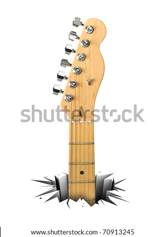 Rock music. Electric guitar. Musical instrument that breaks through a white floor. - stock photo