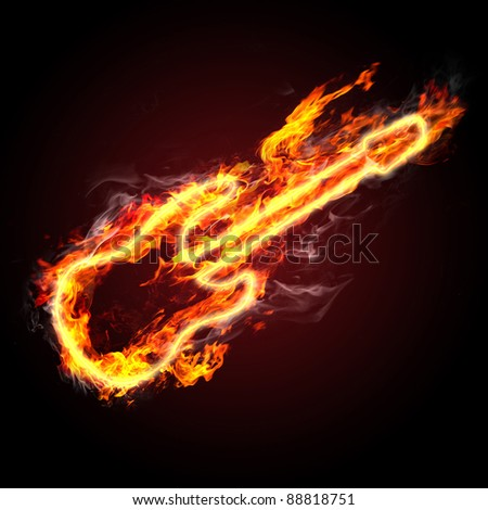 rock music. fiery guitar against black background - stock photo