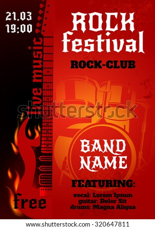 Rock music group concert or festival poster with burning guitar and drums  illustration - stock photo