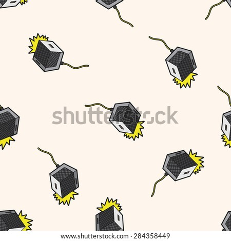 rock music Loudspeaker , cartoon seamless pattern background - stock photo