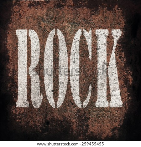 rock music on old rusty metal plate background - stock photo