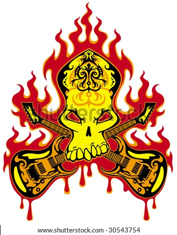Rock n roll skull symbol  - stock photo