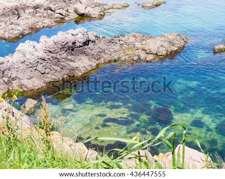 rock on coastline of the Black Sea near Sozopol town - seaside resort on Black Sea coast in Bulgaria - stock photo