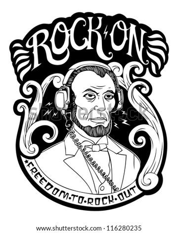 rock on crest image - stock photo