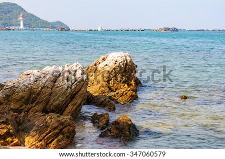 Rock on the beach - stock photo