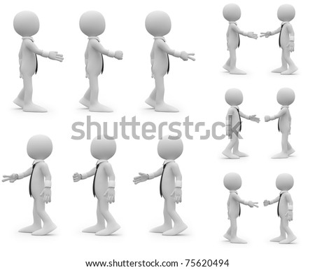 Rock, paper, scissors, different combinations - stock photo