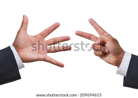 rock paper scissors game concept - business hands challenge on white