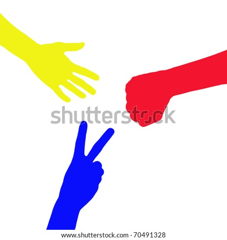 rock paper scissors game, hand sign - stock photo