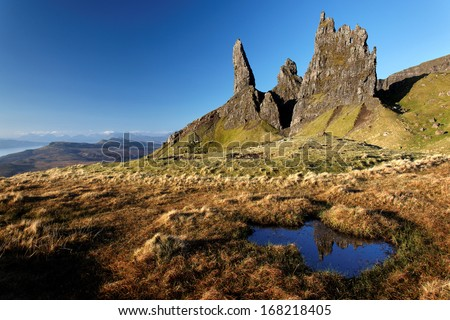 Rock pinnacles below The Storr , Isle of Skye, Scotland - stock photo