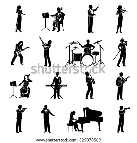 Rock pop and classical musicians icons black silhouettes set isolated  illustration