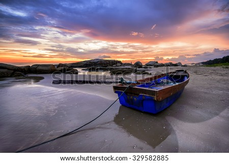 Rock ripple sunset landscape Thailand. - stock photo