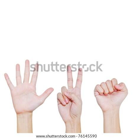 Rock , Scissors , Paper , Hand posing in various position - stock photo