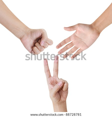 Rock, Scissors, Paper various poses of hand - stock photo