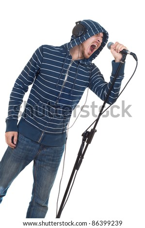 rock singer with his mouth open screaming in microphone isolated on white