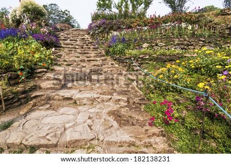 rock stair outdoor in garden - stock photo