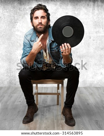 rock star with vinyl