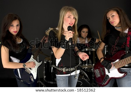 Rock Stars during a concert - stock photo