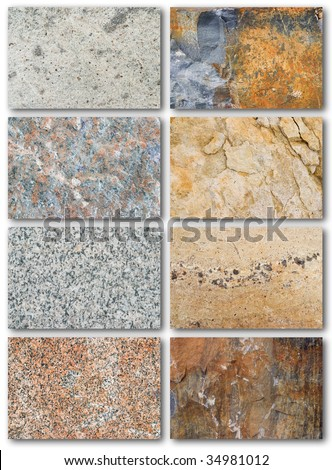 Rock texture surface, list of different types - stock photo