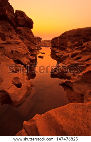 Rock view sam pan bok grand canyon in mekong river ubon ratchathani province asia thailand  - stock photo