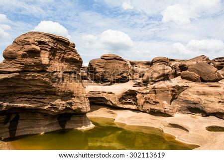 Rock view sam pan bok grand canyon in mekong river ubon ratchathani Thailand - stock photo