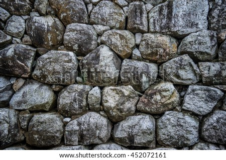 rock wall background from the old japan castle in fukuoka. - stock photo