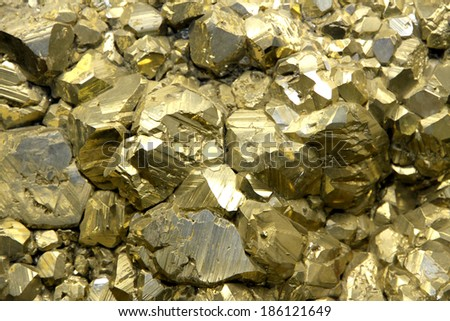 Rock with mineral crystals or gold just found by Geologist in a mine - stock photo